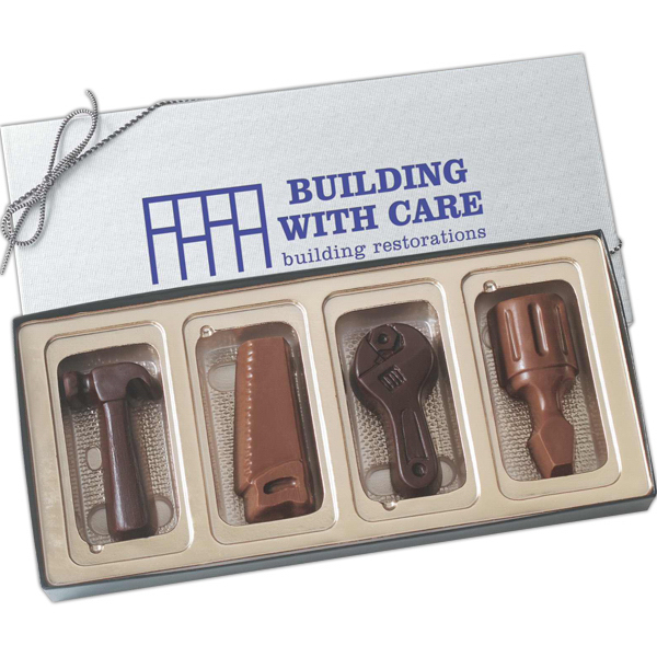 Personalized Four tool shapes molded chocolates in gift box