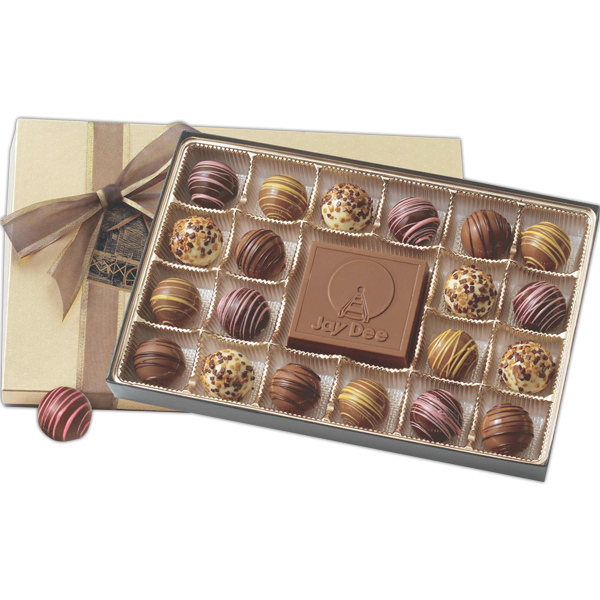 Printed Gift Box Filled with Truffles and Chocolate Centerpiece