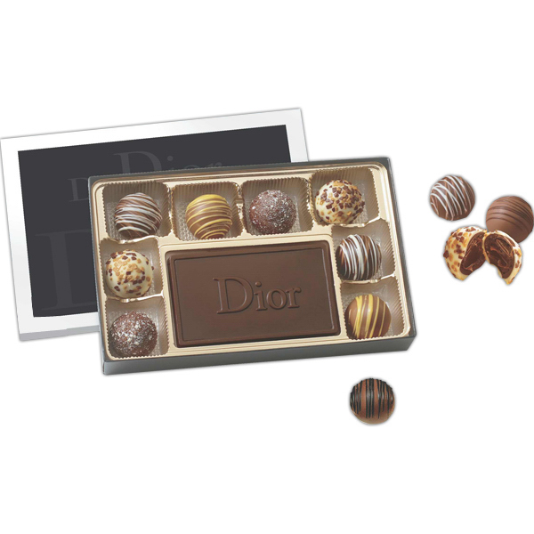 Promotional Gift box filled with truffles and chocolate centerpiece