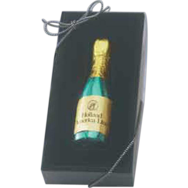 Printed 1 oz. Foil Wrapped Molded Chocolate Champagne Bottle