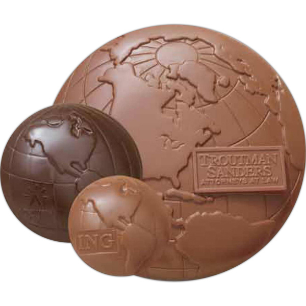 Personalized Globe shape molded chocolate with flat back