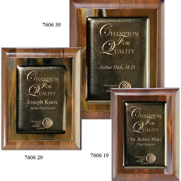 Promotional Brown Metallic Fusion on Walnut Plaque