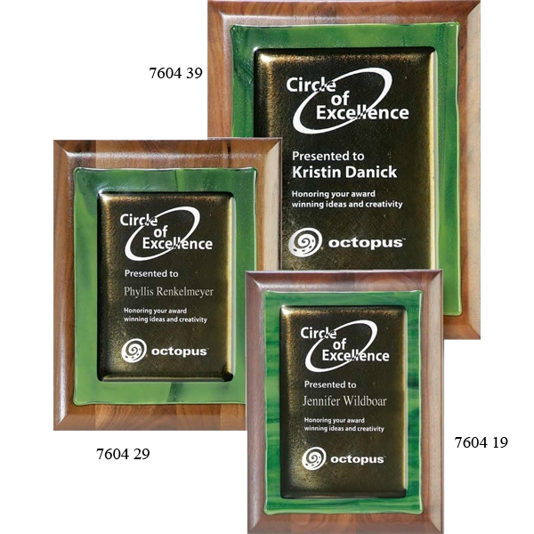 Promotional Green Metallic Fusion on Walnut Plaque