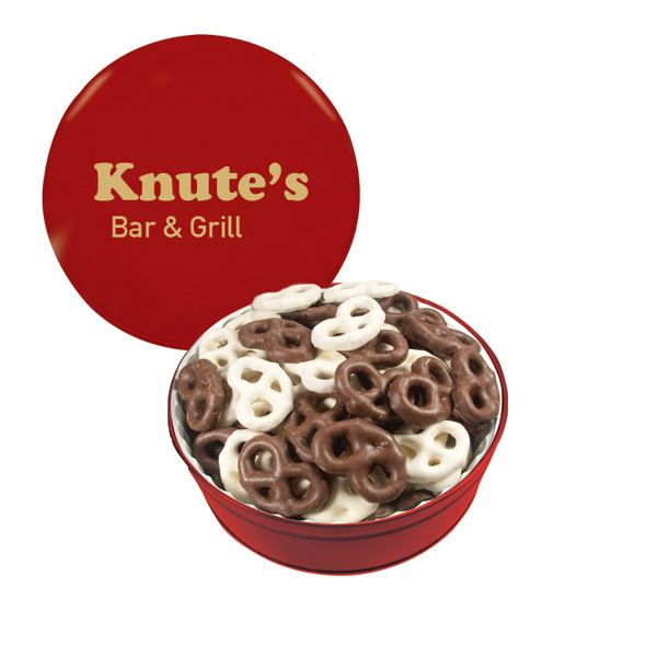 The Royal Tin with Chocolate Covered Mini Pretzel