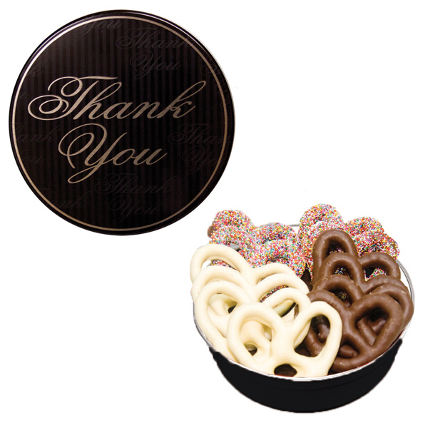 The Royal Pretzel Tin - Thank You Design with Pretzels
