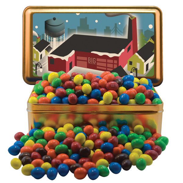 Large Rectangle Tin w/Plain & Peanut Candy Coated Chocolates