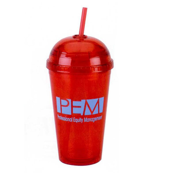 Promotional 16 oz. Double Wall Acrylic Cup with Straw
