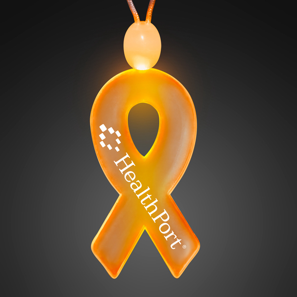 Imprinted Ribbon Acrylic Necklaces with Amber LED