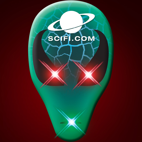 Imprinted LED Space Alien Face Body Light Pins