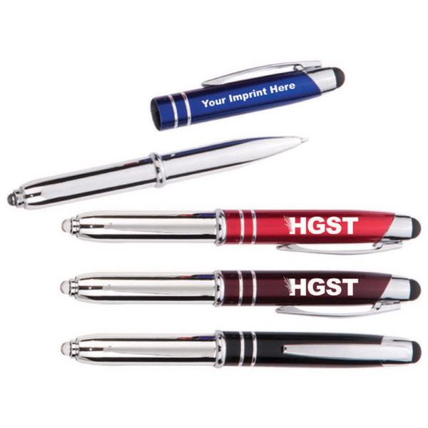 3 in 1 Metal Ballpoint Pen & LED Stylus with Ring Design