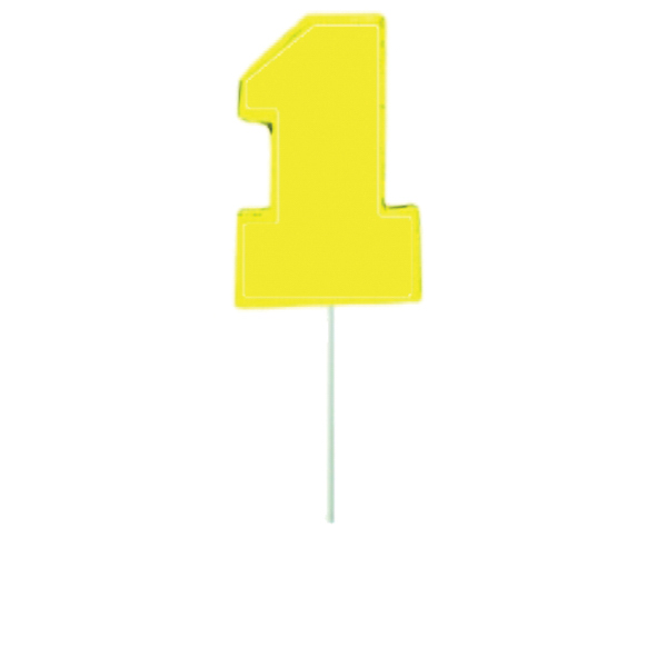 Imprinted Yellow Number One Lollipop