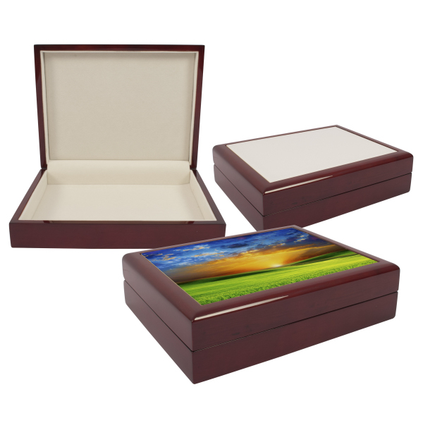 "6"" x 8"" Jewelry Box w/sublimation Photo Tile Lid"