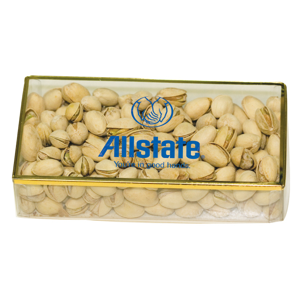 Imprinted Golden Favorites Box with Pistachio Nuts - Acrylic
