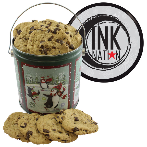Imprinted One Gallon Cookie Tin with Chocolate Chip Cookies