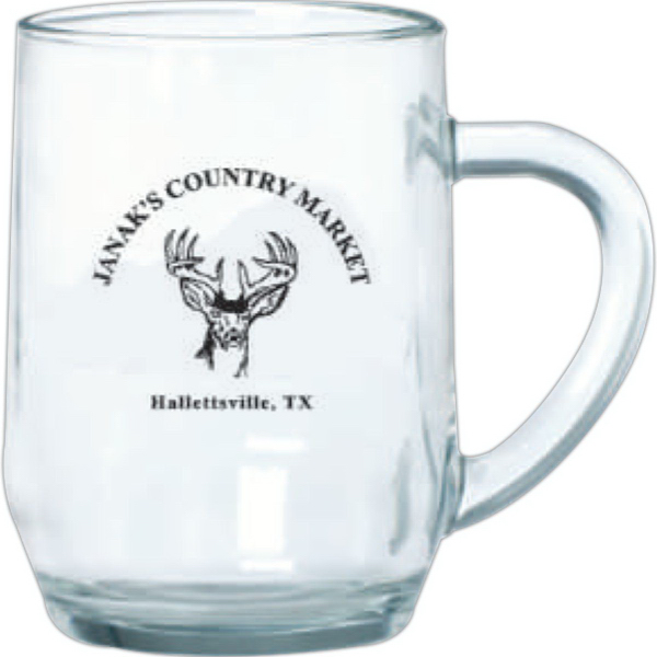 Imprinted Clear Glass Haworth mug