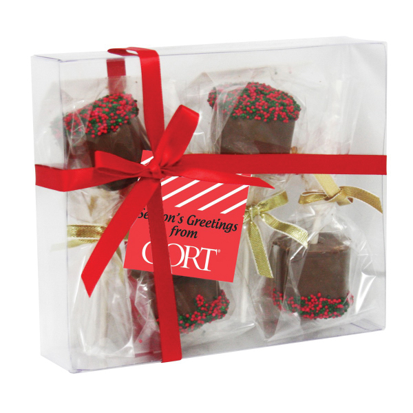Elegant Gift Box with 4 Chocolate Covered Marshmallows
