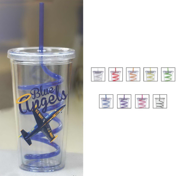 Carnival Cup - Color Curly Straw, Clear Lid