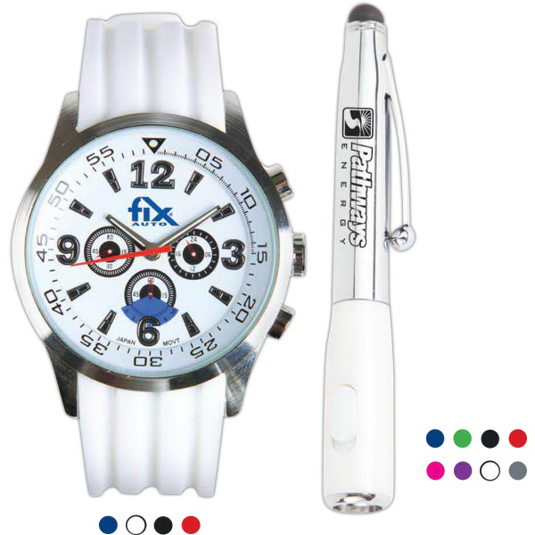 The Pasadena Watch And Stylus Pen With Flashlight Gift Set