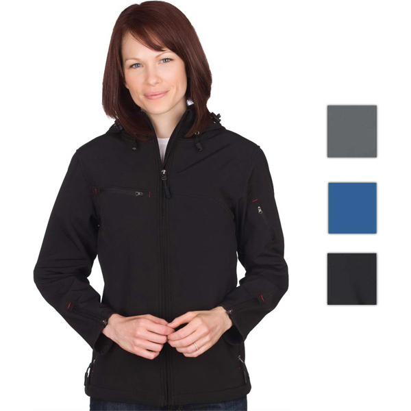 Imprinted Ladies' Camden Hooded Softshell Jacket