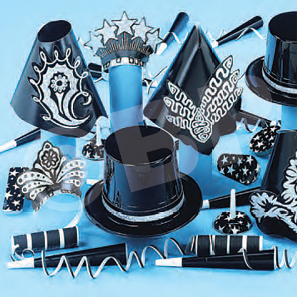 Customized Gatsby Black and Silver New Year's Eve Party Kit for 50