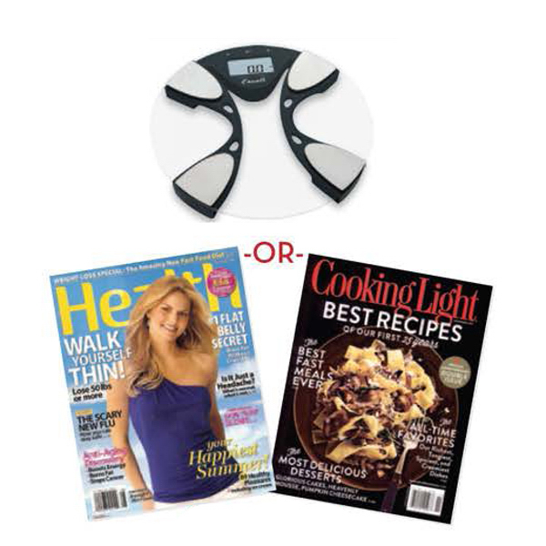 Body Fat and Body Water Bath Scale and Magazine Subscription