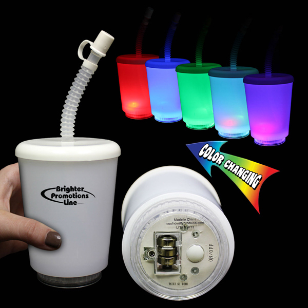 Custom 12 Ounce LED Cup with Lid and Straw