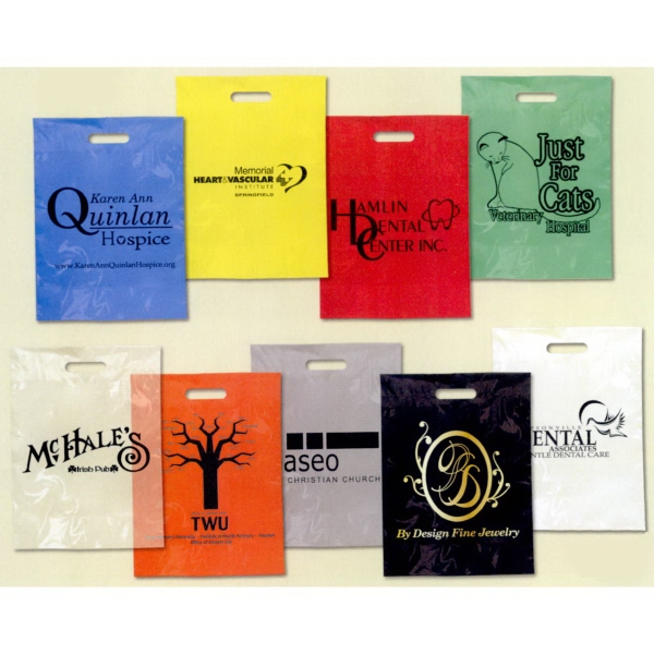 Low Minimum Plastic Take Home Bags - Colored Plastic
