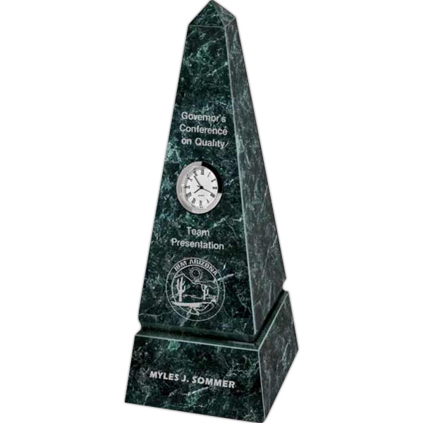 Promotional Marble Obelisk with Clock