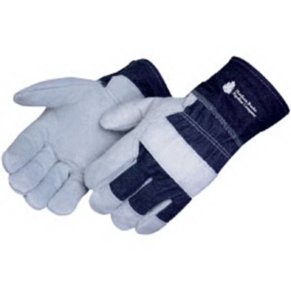 Personalized Split cowhide work gloves with denim cuff