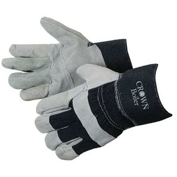 Printed Split Cowhide Work Gloves with Denim Cuff and Palm Patch