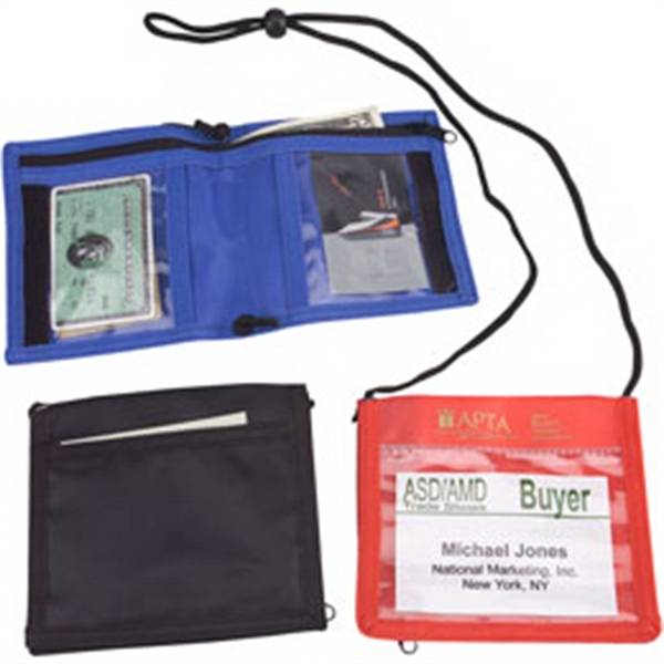 Promotional Nylon bi-fold neck wallet