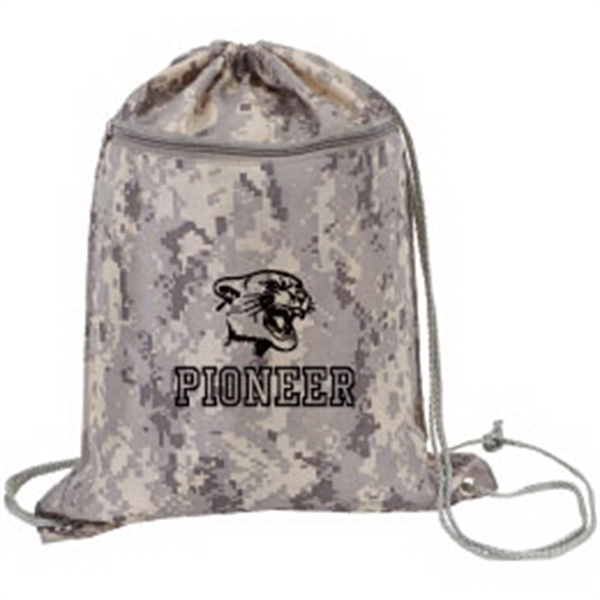 Printed Camouflage Drawstring Shoulder Pack