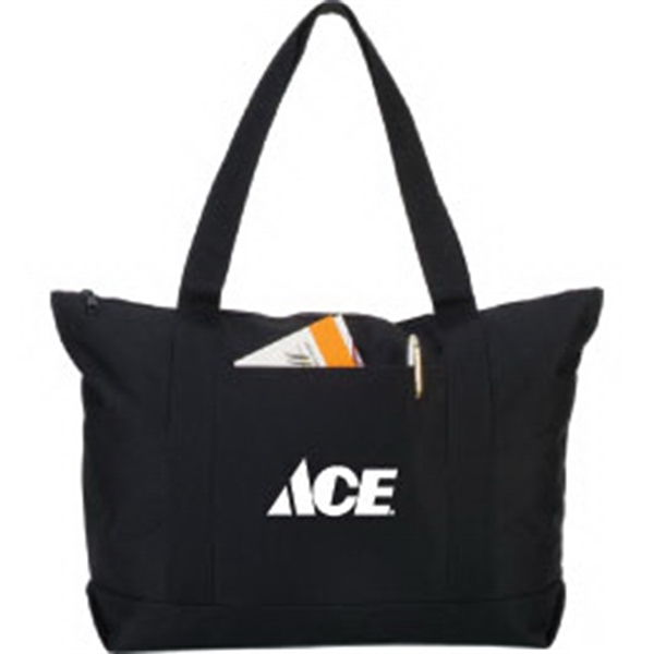 Customized Solid Color Zipper Boat Tote