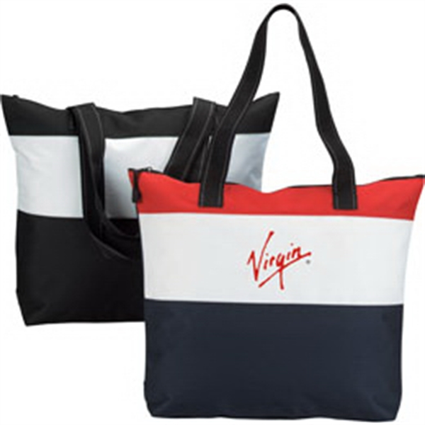 Printed Polyester Zipper Tote Bag