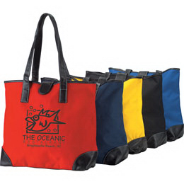 Custom Polyester tote bag with leatherette trim