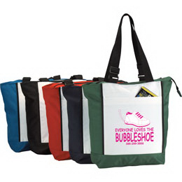 Customized Two Tone Polyester zippered tote bag