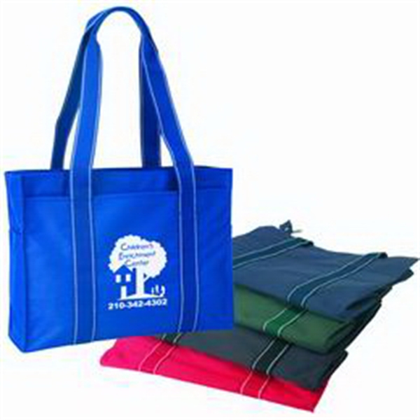 Printed Polyester tote bag with zipper closure