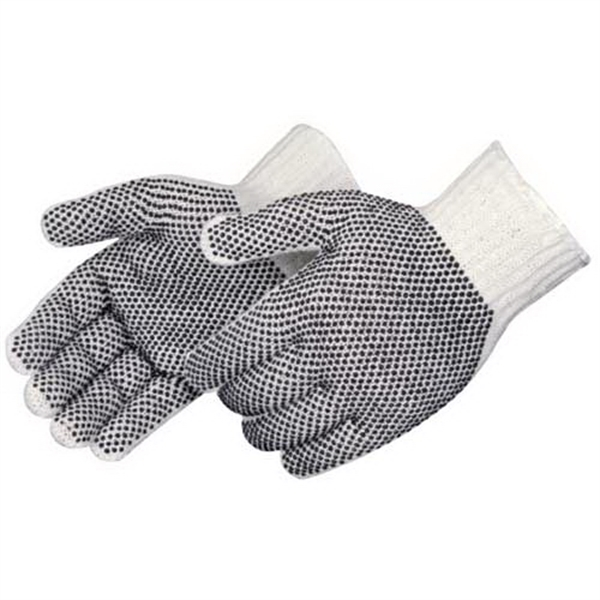 Imprinted Cotton / polyester gloves with PVC 2 sided PVC dots