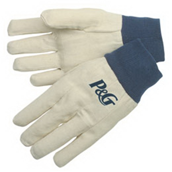 Custom Canvas gloves with blue knit wrist