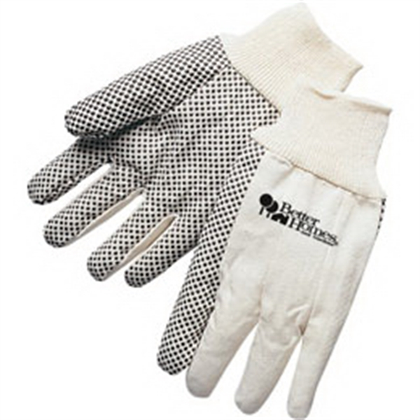Printed 10 oz. canvas work gloves with PVC dots