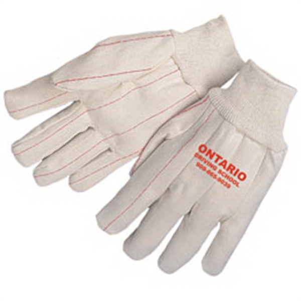 Imprinted Double palm canvas gloves with natural wrist