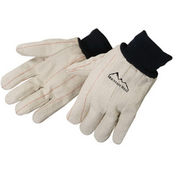 Imprinted Double Palm Canvas Gloves with Blue Wrist