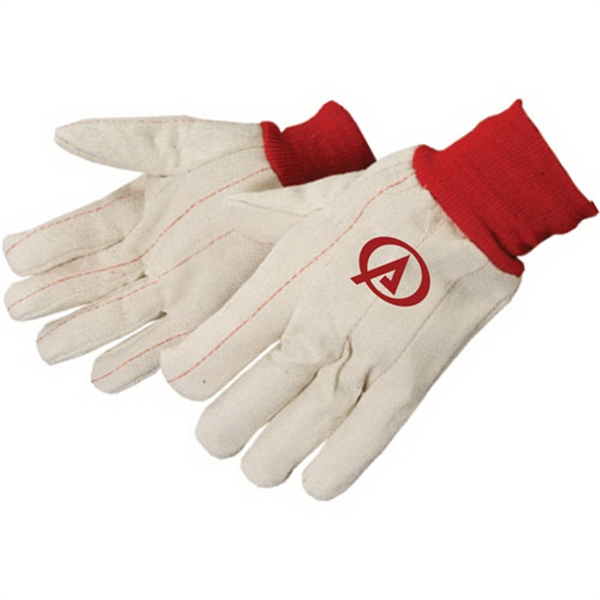 Imprinted Double Palm Canvas Gloves with Red Wrist