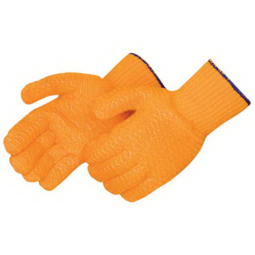 Imprinted Orange knit glovew with 2 sied clear PVC honeycomb