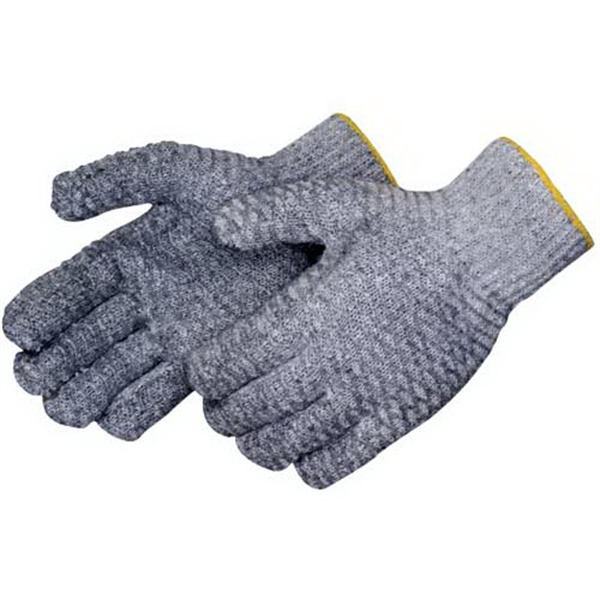 Printed Knit gloves with 2 sided clear PVC honeycomb