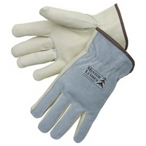 Printed Driver gloves with grain palm / gray split leather back