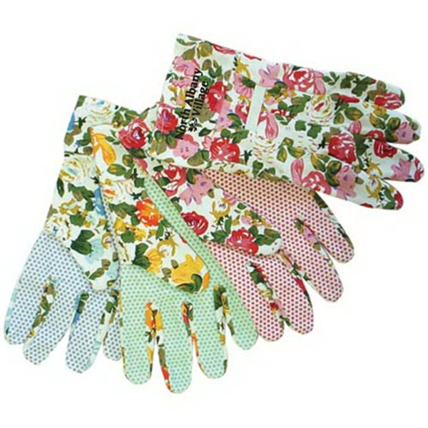Promotional Assorted color floral canvas gloves