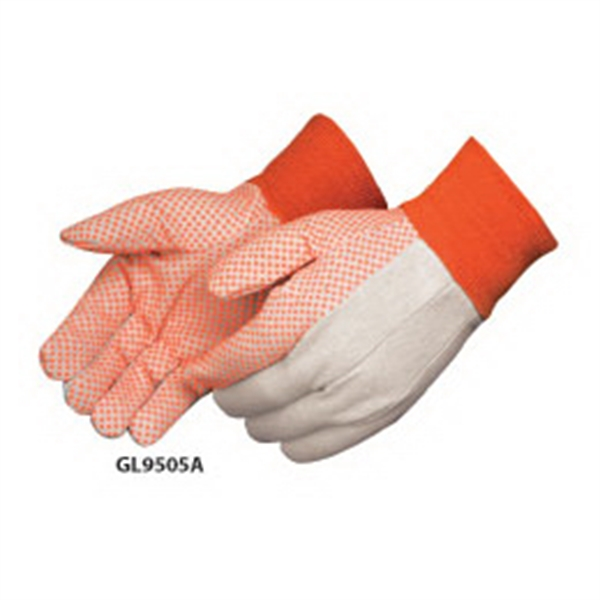 Customized Canvas work gloves with orange PVC dots