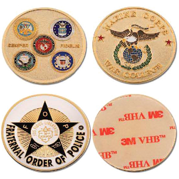 Brass Die Struck Challenge Coin with Adhesive Backing