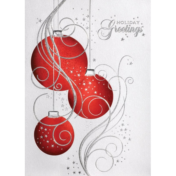 Three Red Ornaments Greeting Card